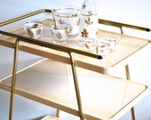 RESERVED Mid Century Serving Cart - Tan and Gold - Mad Men - Rolling kitchen cart