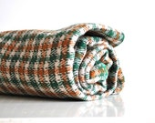 Plaid Wool Fabric - Hunter Green, Brown and Orange  - Fall/Autumn