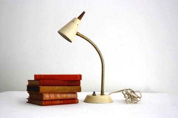 Mid Century Gooseneck Lamp - Off White Metal Desk Light