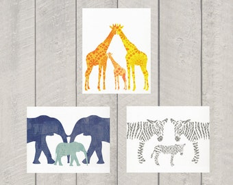 Animal Family Nursery Art Print - Set of 3 - 8x10