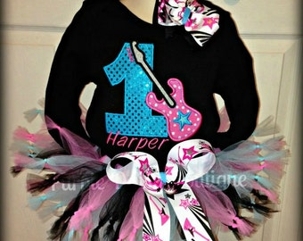 Rock Star Birthday Tutu Set - Customize with Name and Number