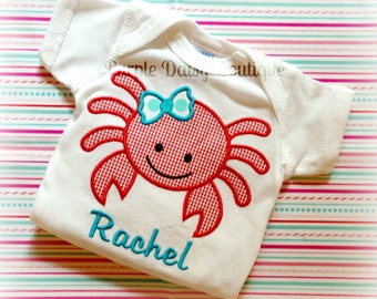 Girly Crab Applique Shirt - Perfect for Summer