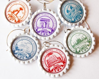 Travel wine charms, Wine Glass Charms, Wine Charms, Bottlecap, Europe, travel, Madrid, Paris, Amsterdam, Edinburgh, Rome, Budapest