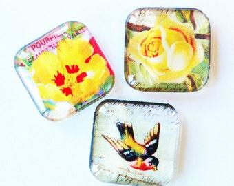 Bird Magnet, Flower Magnet, Floral Glass Magnets, Fridge Magnets, Kitchen Magnets, Flowers, Birds, Yellow