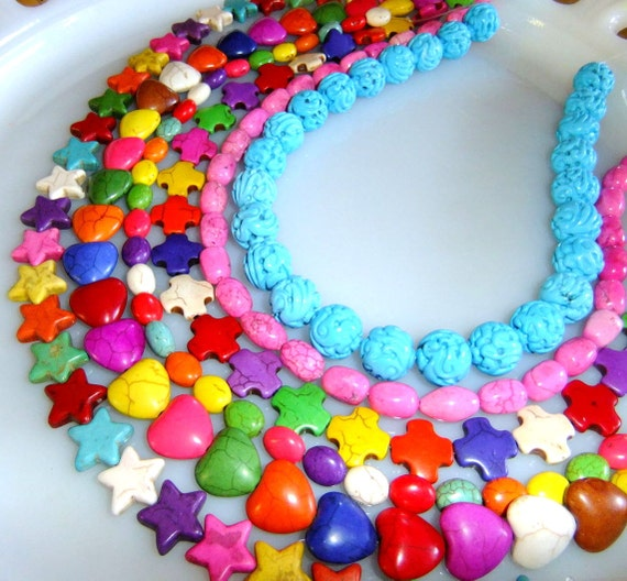 35 Magnesite Beads Random Mix Hearts Sold Out