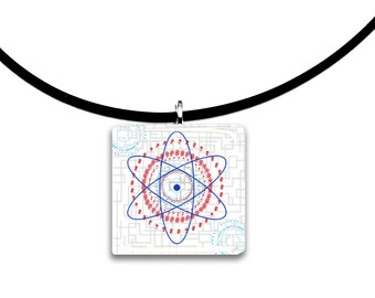 Big Bang theory inspired modern art pendant, red, grey, orange, aqua blue, Glass tile pendant