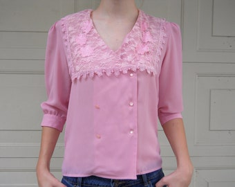 1980s Pink Lacey Double-Breasted Blouse // vintage
