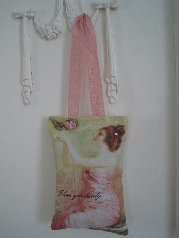 I Love You Dearly - LAVENDER SACHET - Shabby Vintage Pink - Support - Sympathy - Gift