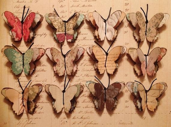 Set of Twelve 3D Paper Butterflies Embellishment Butterfly Wings