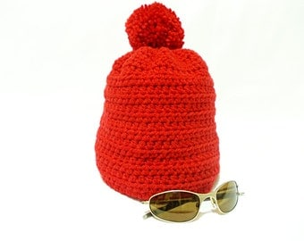 Crochet red hat, Handmade hat, Crochet hat, Free Shipping, Beanie, Stylsh hat, Big hat, Red skullcap hat, Red and warm / winter and autumn