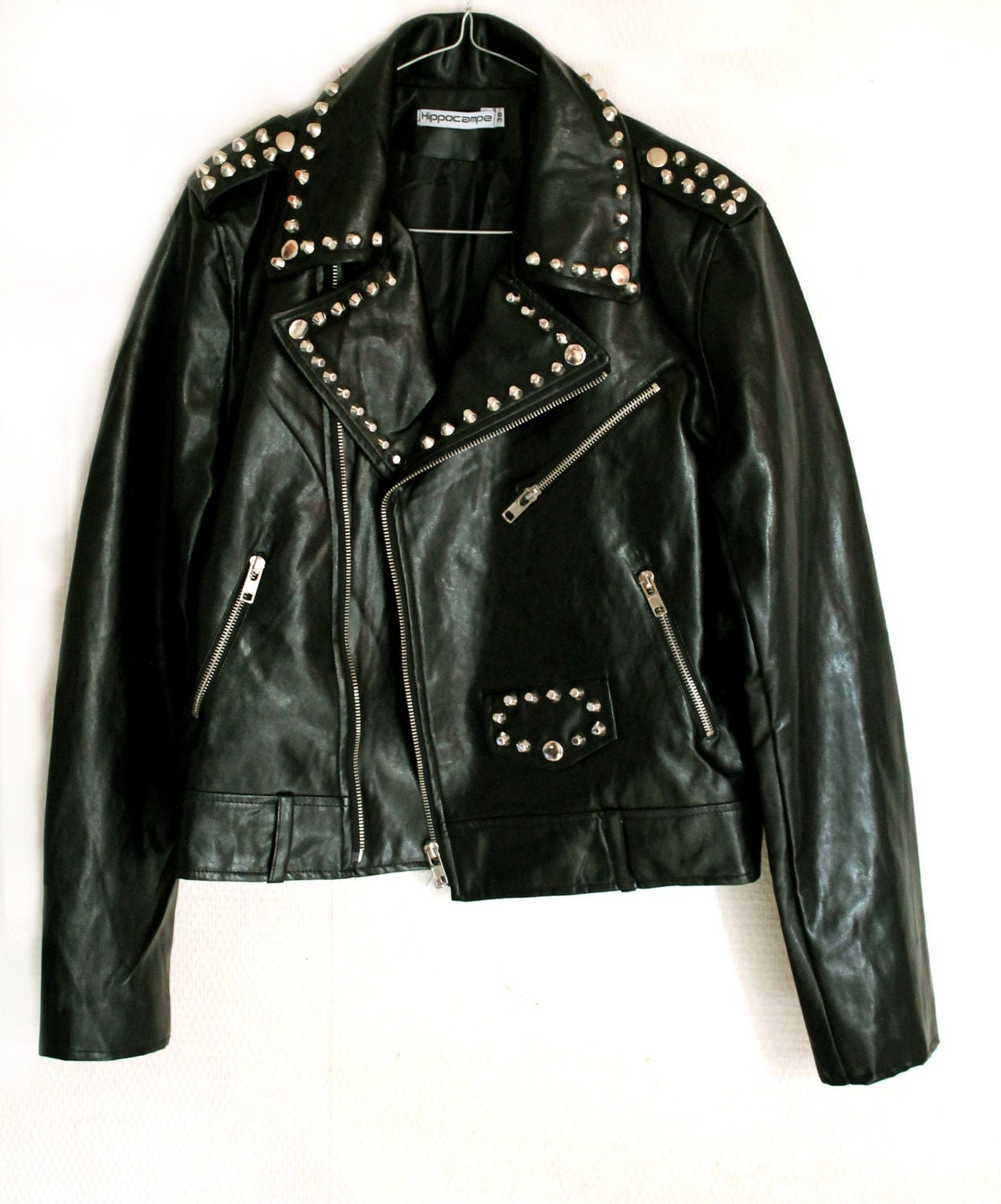 Studded jacket Perfecto faux Leather punk rock woman 38