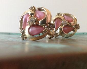 Rhinestone Encrusted Gold and Pink Tigers Eye Screwback 60s Earrings