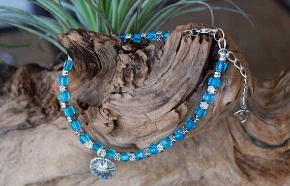 Anklet with Sand Dollar Charm and Tiny Dolphin extension chain, blue glass beads