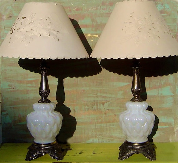 Reserved for Alice-WHITE GLASS LAMPS -  Or Milk Glass and Brass Quilted Opalescent Irridescent Vintage Hollywood Regency