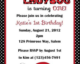 Lady Bug Birthday Invitation - (Digital File)