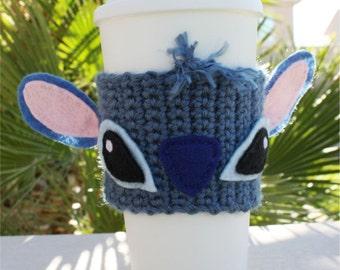 Stitch -ish Inspired Coffee Travel Mug Cup Cozy:  Disney-ish Eco - Friendly Lilo & Stitch -ish Crochet Knit Sleeve