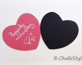 2 Chalkboard Large Hearts  PHOTO Props -- 1 Blackboard and 1 Pink Chalk Board -- Wedding Photo Booth Props Heart Bubbles