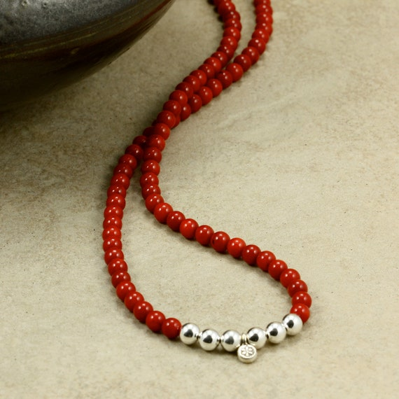 FREE SHIPPING Red Coral Necklace with Sterling Silver and Hill Tribe Silver, Strand Necklace, Southwestern