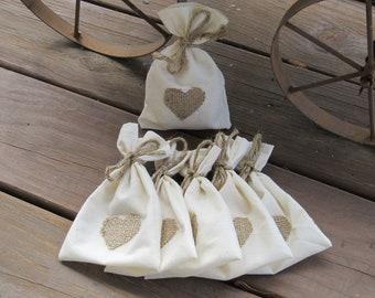 Ivory Muslin Sachets Favor Bags - Set of 10