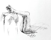 "Life Drawing Figure Study Female Nude 10X8"" Matted 14X11"" No.53"