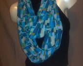 Infinity/Wrap scarf Geometric Blue and Green tones.
