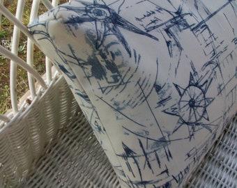 """Nautical  Rectangular  Pillow Cover  20 x 12""""- Coastal anchor pillow - Outdoor/Indoor Throw pillow"""