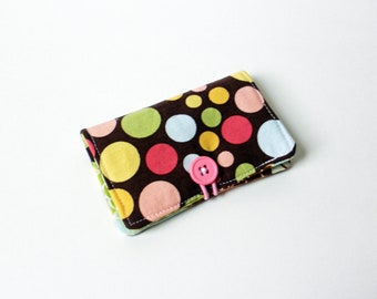 Brown, Pink, Green Polka Dot Fabric Business Card Holder, with Lime Green Blossoms - Credit Card Holder, Cloth Card Holder, Gift Card Holder