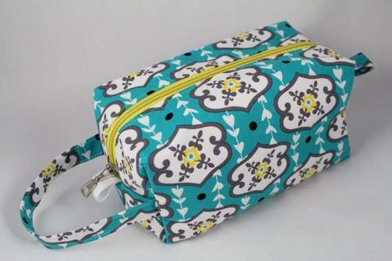 Knitting Boxy pouch, Sock Bag knitting bag or small project pouch. Unique metal zipper pull. Turquoise Modern fabric