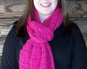 Hot Pink Crochet Scarf