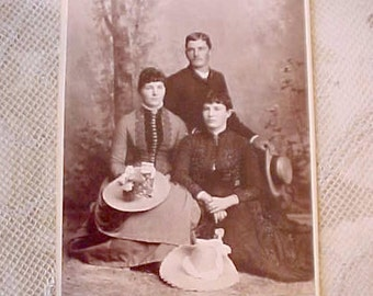 Charming Victorian Estate Photograph of Girls with Beautiful Summer Hats