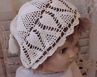Sweet Victorian Era Crochet Cap with Little Tassel for Small Child or Larger Doll