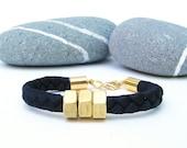 Black and Gold Elastic Braided Hex Nut Bracelet