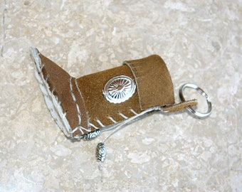 Lip balm Case Traditional White Soled Moccasin as a Keychain