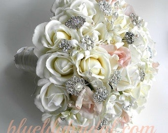 The Michelle Bouquet- Rhinestone and Pearl Real Touch Rose Bouquet in  White, Ivory &  Blush  Brooch Bouquet.