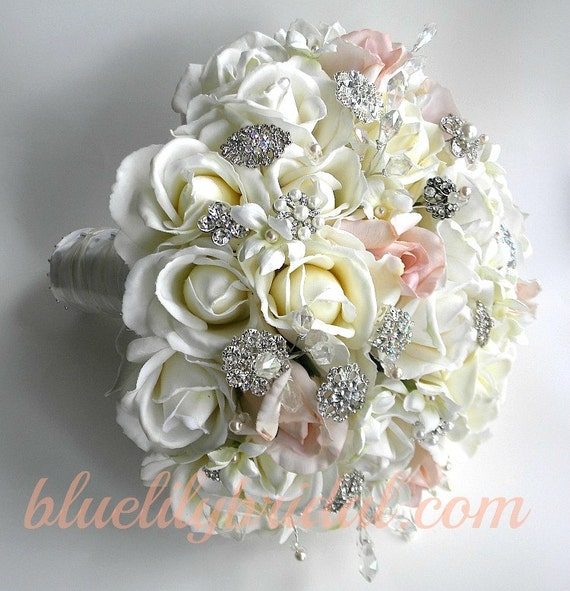 Bridal Flowers With Bling : The michelle bouquet rhinestone and pearl real touch rose