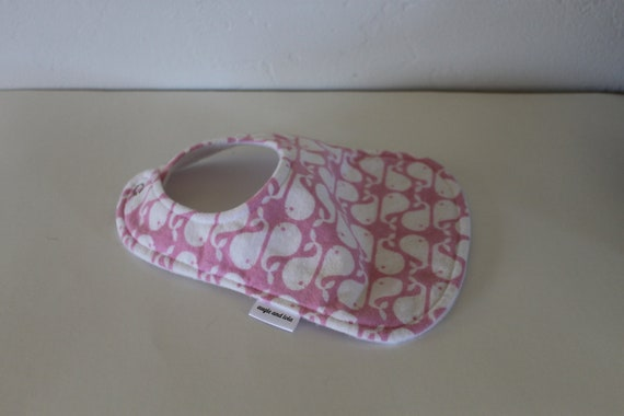 Baby Bib, Whale Bib, Flannel Bib, Fleece and Snap Closure