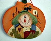 Harvest Thyme Scarecrow, apples, crow, birdhouse, handpainted