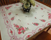Vintage White and Pink Kitchen Dining Luncheon Table Cloth for housewares, home decor, linens by MarlenesAttic