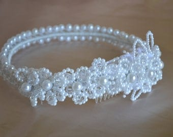 Wedding Traditional White Pearl Crown - Head Piece