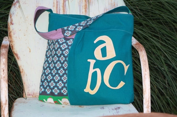 Favorite Purse with Leather ABC's and Kokka Typewriter Fabric