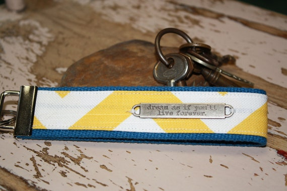 Keyfob in Yellow Chevron and Blue Webbing with Metal Tag