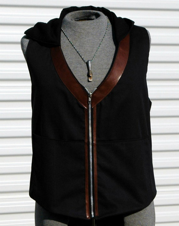 Hooded Steampunk Vest with Leather Trim