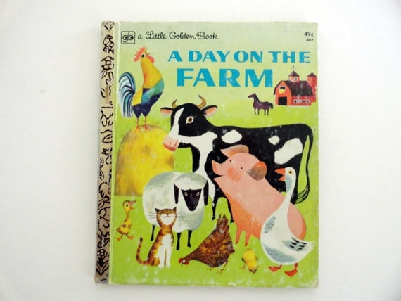 Vintage A Day on The Farm Little Golden Book, Family Vintage Childrens Book, Vintage Illustrated Book Animals