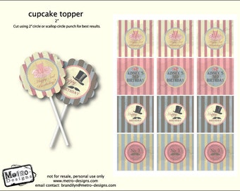 Vintage Mustache Cupcake Toppers