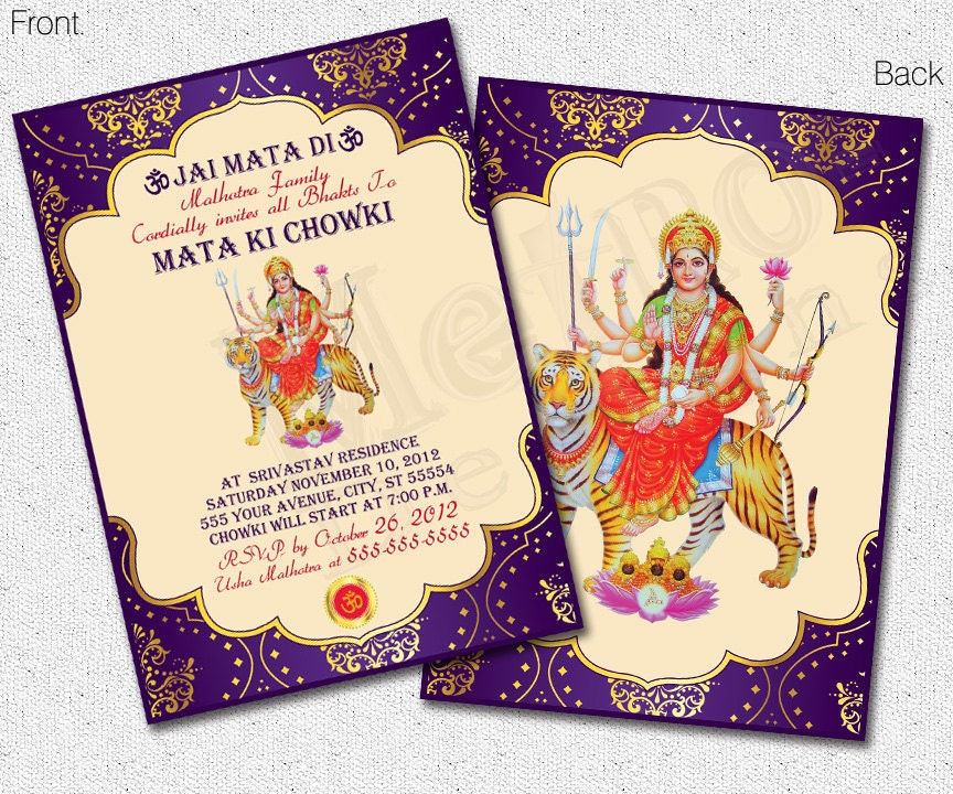60 Invitation Cards Designs For Mata Ki Chowki Cards