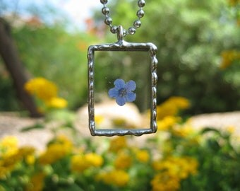 Forget Me Not Necklace in a Square Pendant