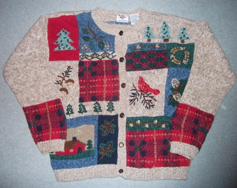 Grandma's House Winter Wonderland Sweater Button Up Tacky Gaudy Ugly Christmas X-Mas Party Winter S Small