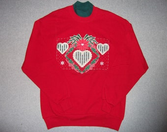 Poinsettia Hearts Red Vintage Sweatshirt Tacky Gaudy Ugly Sweater Party Christmas X-Mas L Large Made In USA