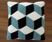 Crochet Black White & Aqua Blue Isometric Pillow / Cushion