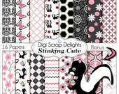 Pink and Black Stinking Cute Skunk Digital Papers for Digital Scrapbooking, Card Making, Party Printables, Instant Download